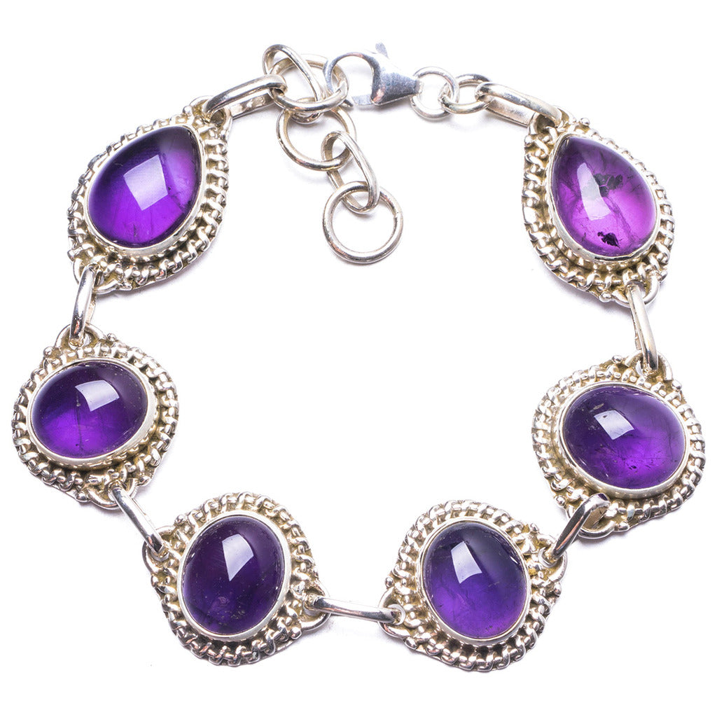 Natural Amethyst Handmade Unique 925 Sterling Silver Bracelet 7 1/4-8 1/4
