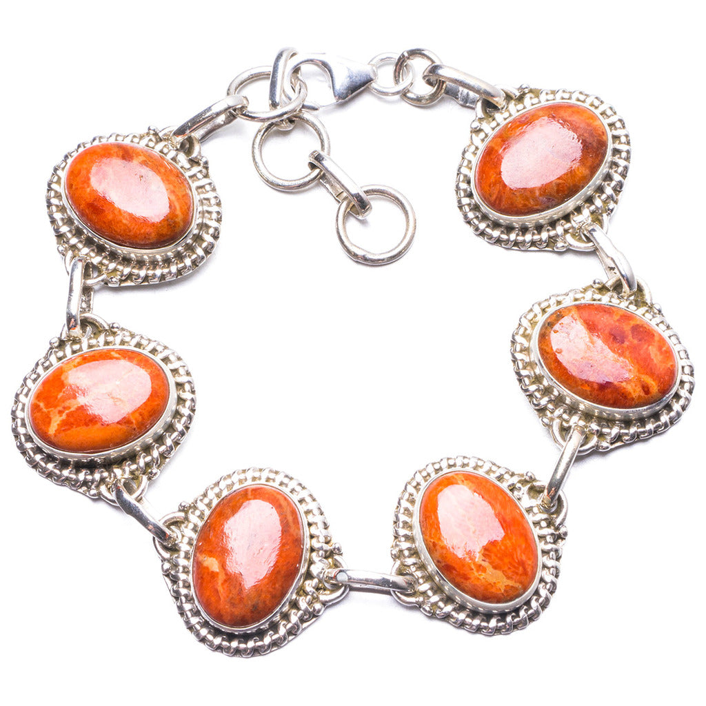 Natural Coral Handmade Unique 925 Sterling Silver Bracelet  7-8