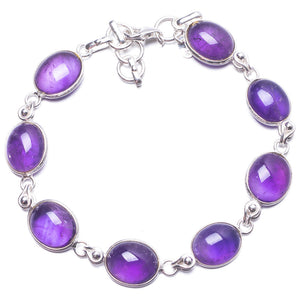 "Natural Amethyst Handmade Unique 925 Sterling Silver Bracelet 7 1/4-8"" Y3460"