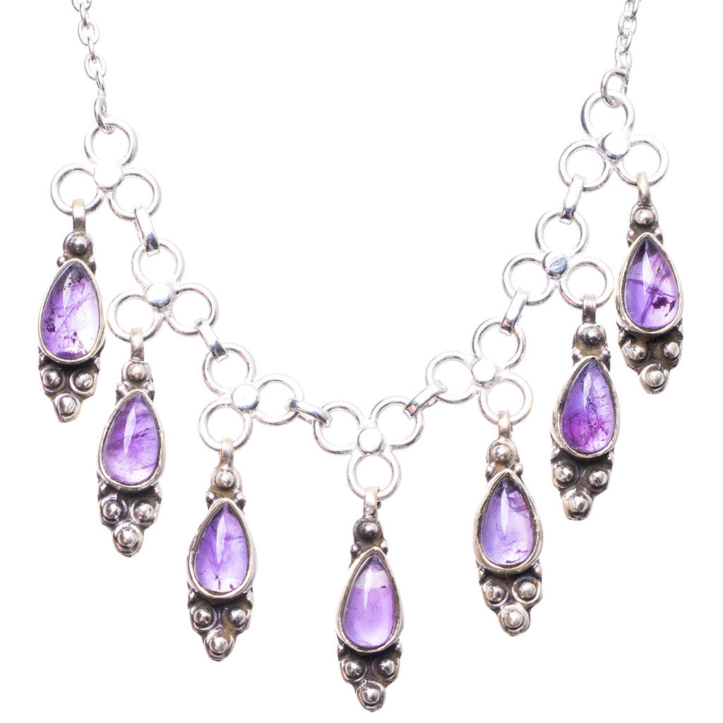 Natural Amethyst Handmade Unique 925 Sterling Silver Necklace 17