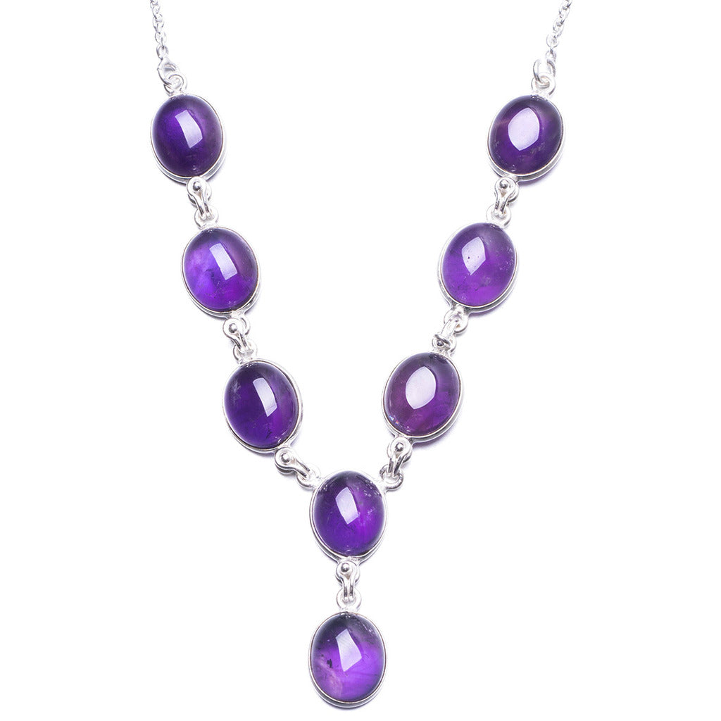 Natural Amethyst Handmade Unique 925 Sterling Silver Necklace 18.5