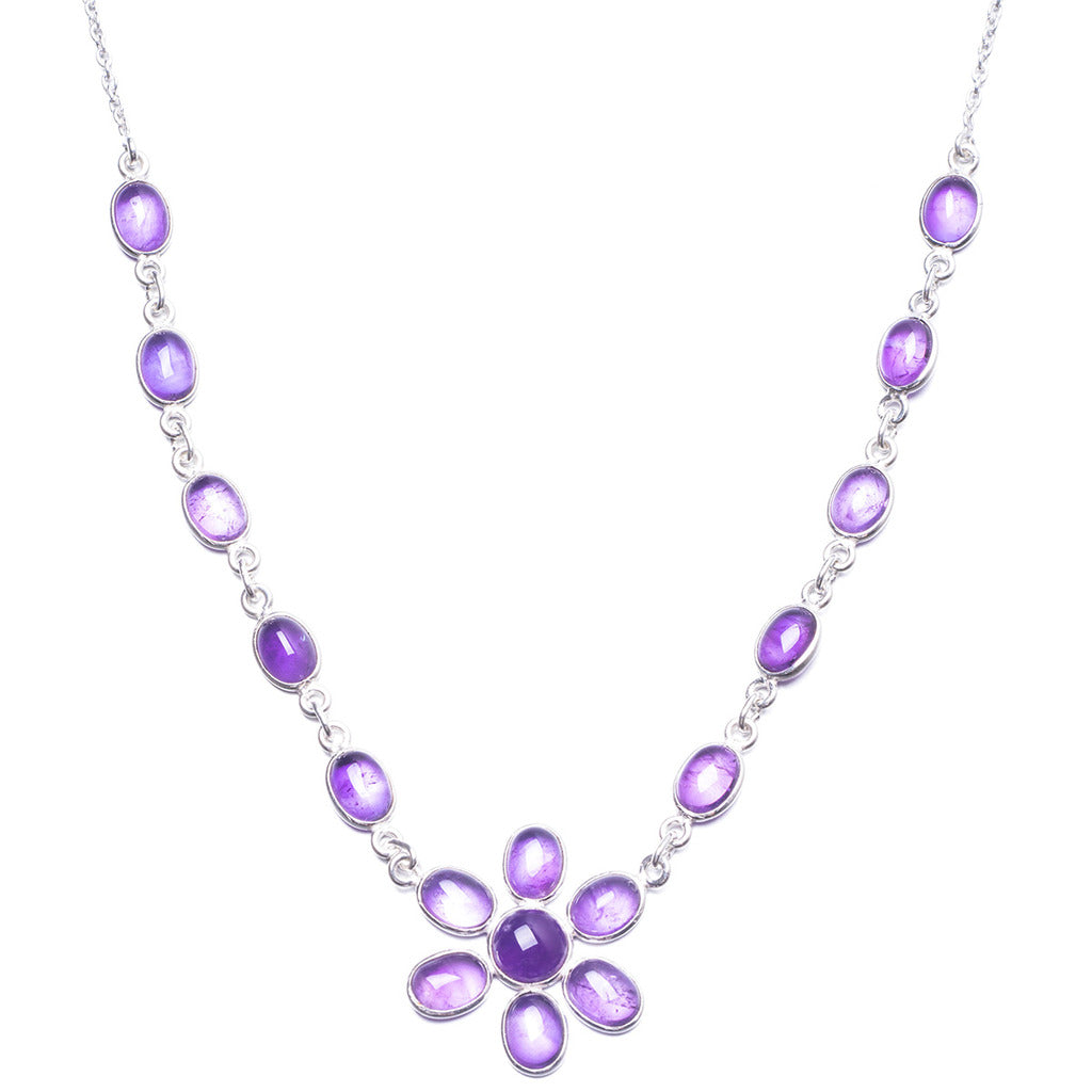 Natural Amethyst Handmade Unique 925 Sterling Silver Necklace 17.75
