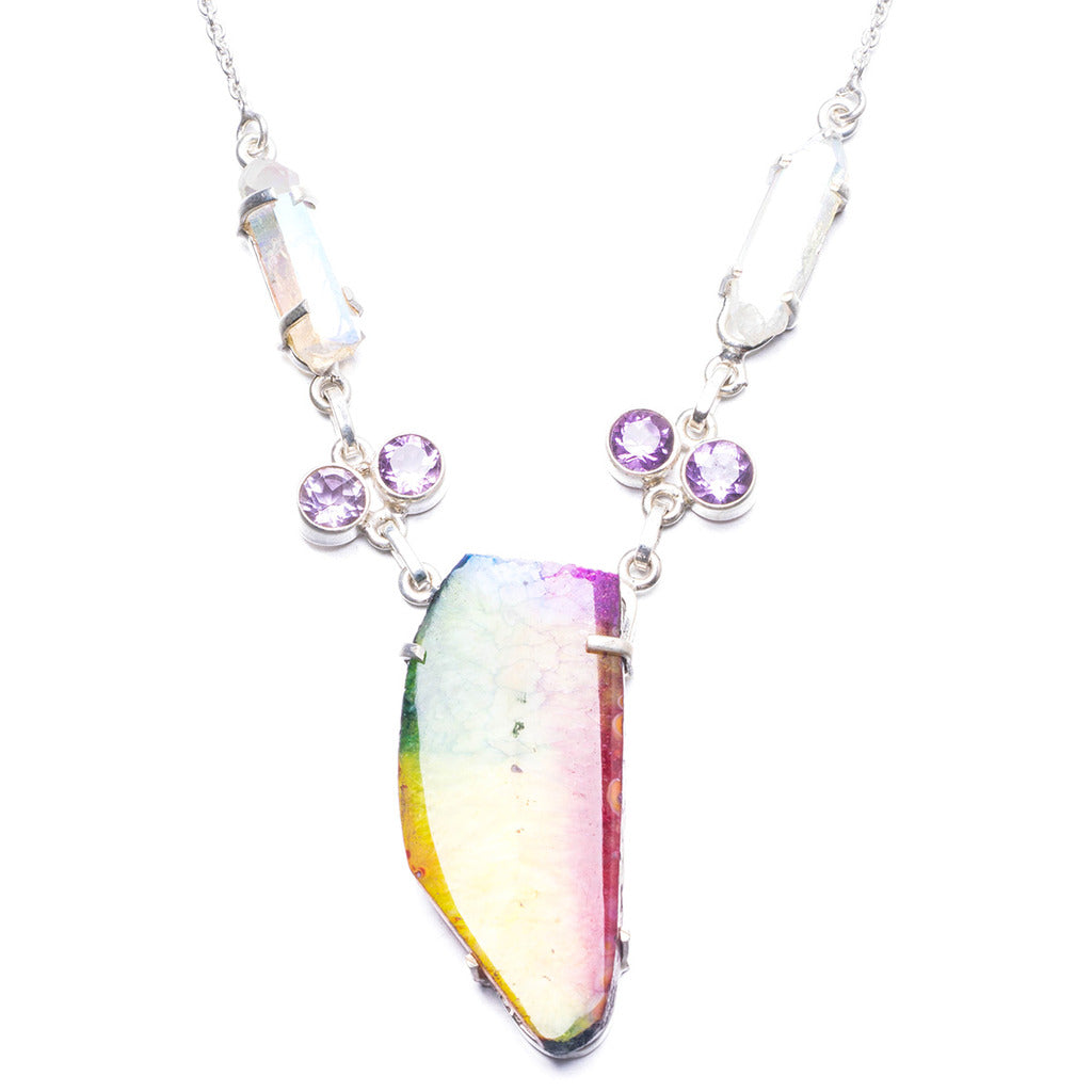 Natural Drusy Agate,Amethyst and Rainbow Drusy Cluster Handmade 925 Sterling Silver Necklace 17.75