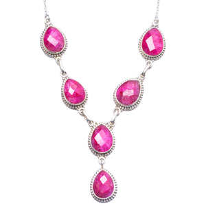 "Natural Cherry Ruby Handmade Unique 925 Sterling Silver Necklace 21.25"" Y3480"
