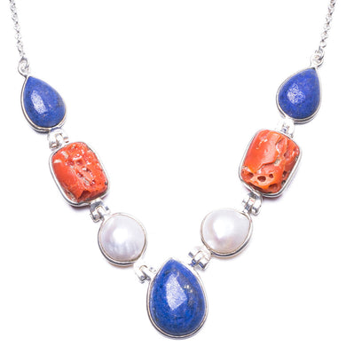 Lapis Lazuli,Natural Hole Red Coral and River Pearl Handmade 925 Sterling Silver Necklace 16.5