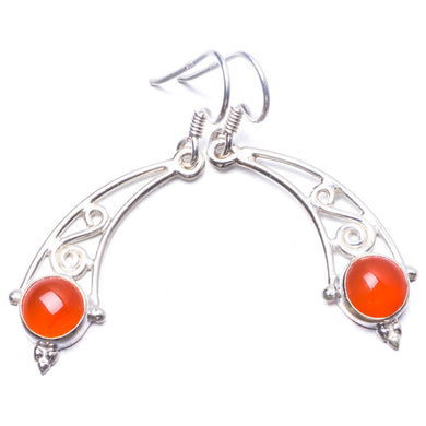 Natural Carnelian Handmade Unique 925 Sterling Silver Earrings 1.5