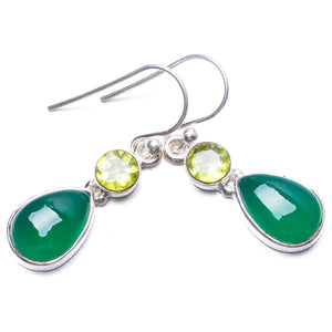 "Natural Chrysoprase and Peridot Handmade Unique 925 Sterling Silver Earrings 1.25"" Y3507"