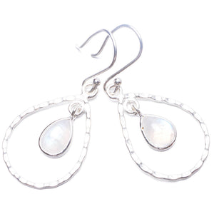 "Natural Rainbow Moonstone Handmade Unique 925 Sterling Silver Earrings 1.75"" Y3528"