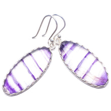 "Natural Fluorite Handmade Unique 925 Sterling Silver Earrings 1.75"" Y3555"