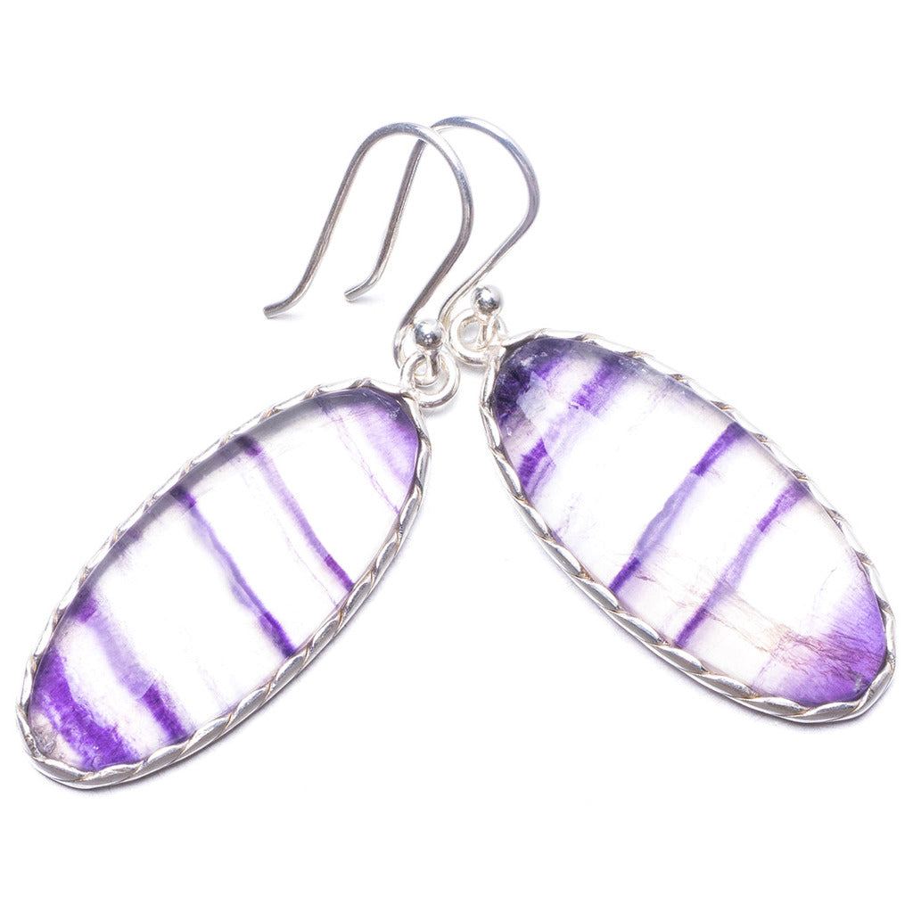 Natural Fluorite Handmade Unique 925 Sterling Silver Earrings 1.75