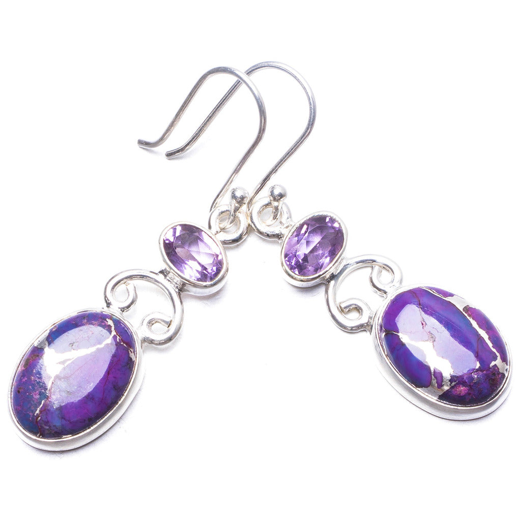 Natural Variscite and Amethyst Handmade Unique 925 Sterling Silver Earrings 1.75
