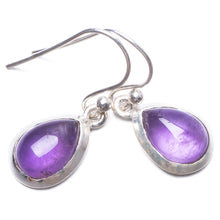 "Natural Amethyst Handmade Unique 925 Sterling Silver Earrings 1"" Y3577"