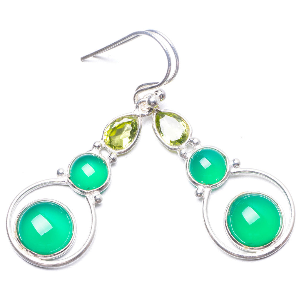 Natural Chrysoprase and Peridot Handmade Unique 925 Sterling Silver Earrings 1.75