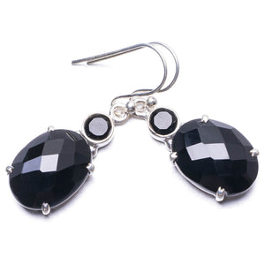 "Natural Black Onyx Handmade Unique 925 Sterling Silver Earrings 1.5"" Y3627"