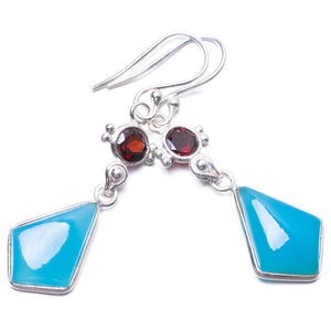 "Natural Chalcedony and Garnet Handmade Unique 925 Sterling Silver Earrings 2"" Y3628"