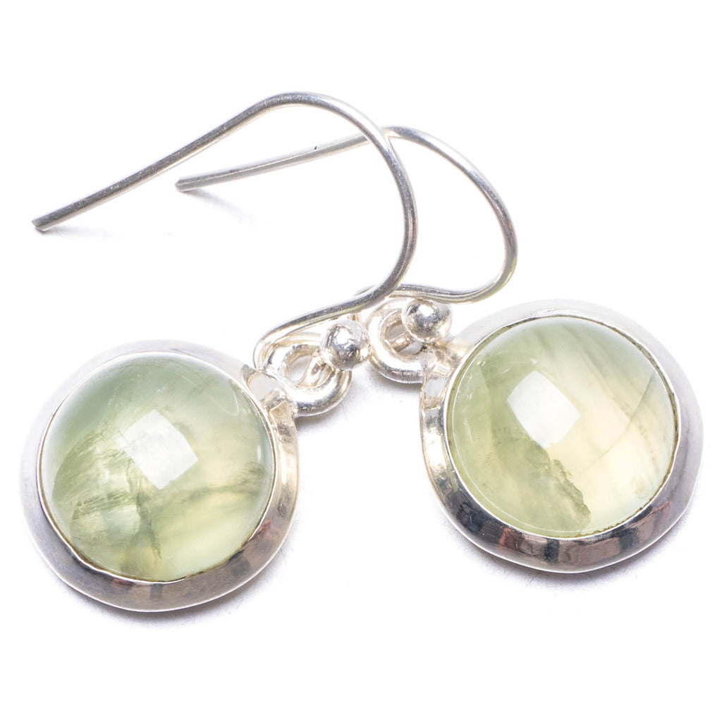 Natural Prehnite Handmade Unique 925 Sterling Silver Earrings 1