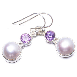 "Natural River Pearl and Amethyst Handmade Unique 925 Sterling Silver Earrings 1.25"" Y3689"