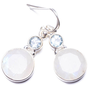 "Natural Moonstone and Blue Topaz Handmade Unique 925 Sterling Silver Earrings 1.25"" Y3702"