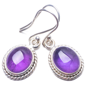 "Natural Amethyst Handmade Unique 925 Sterling Silver Earrings 1.25"" Y3707"