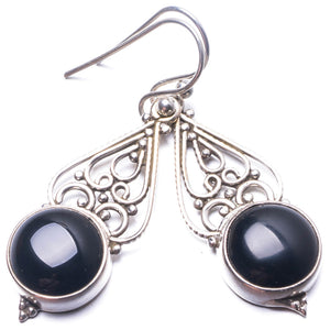 "Natural Black Onyx Handmade Unique 925 Sterling Silver Earrings 1.5"" Y3715"