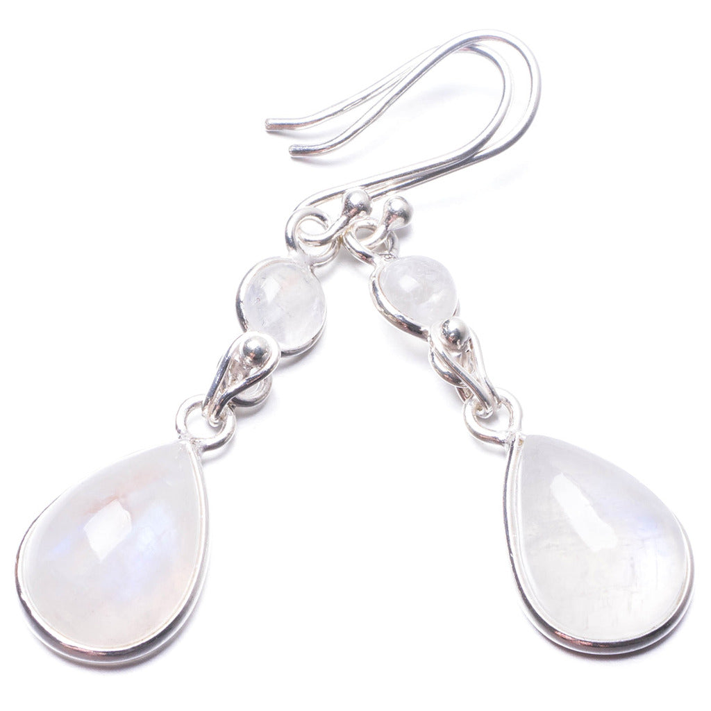 Natural Rainbow Moonstone Handmade Unique 925 Sterling Silver Earrings 2