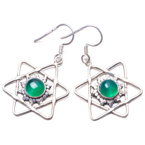 "Natural Chrysoprase Handmade Unique 925 Sterling Silver Earrings 1.5"" Y3734"