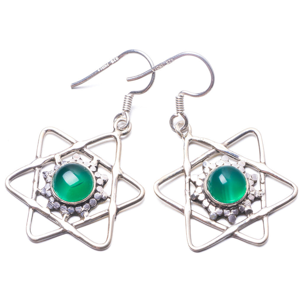Natural Chrysoprase Handmade Unique 925 Sterling Silver Earrings 1.5