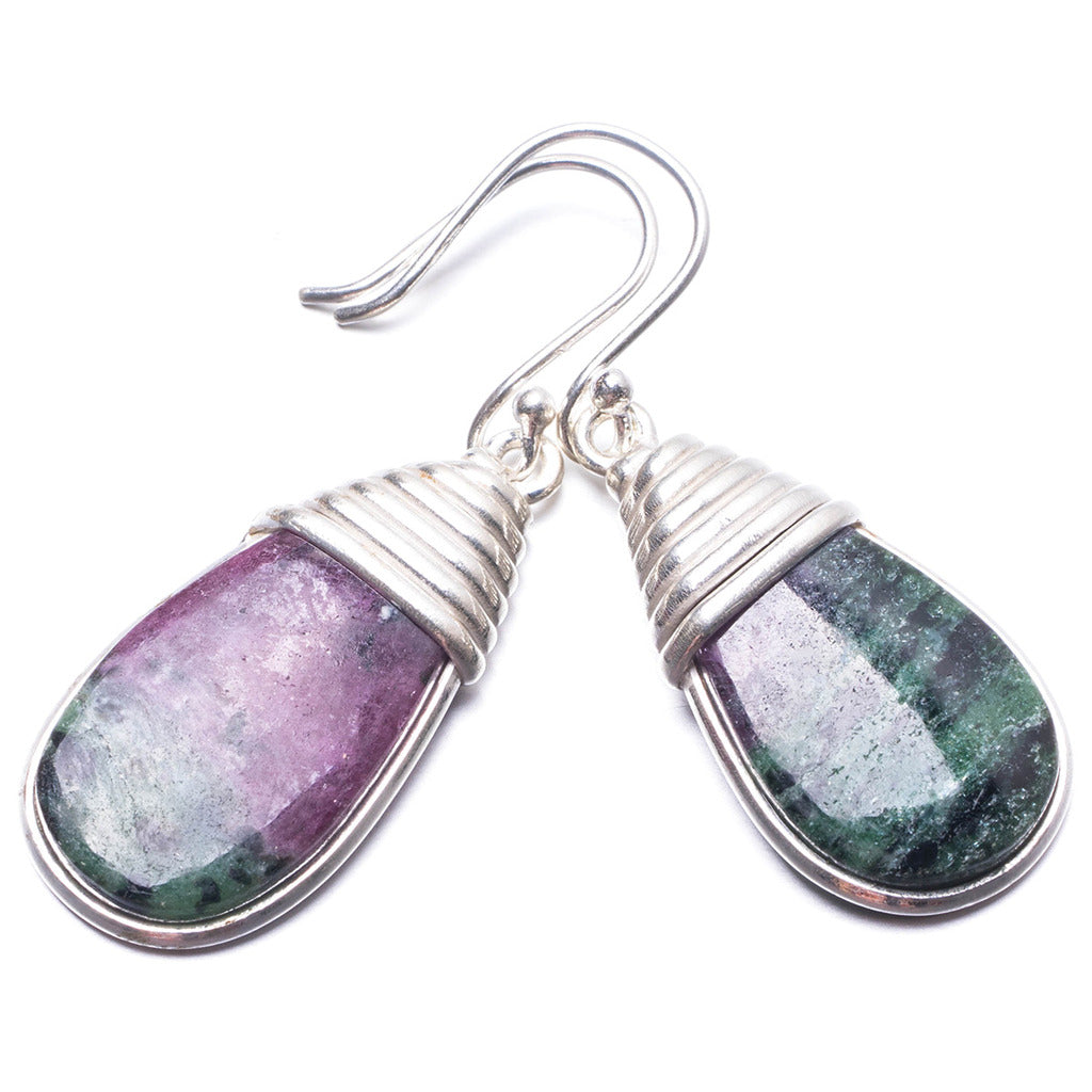 Natural Ruby Zoisite Handmade Unique 925 Sterling Silver Earrings 1.5