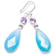 "Natural Chalcedony and Amethyst Handmade Unique 925 Sterling Silver Earrings 2.25"" Y3781"