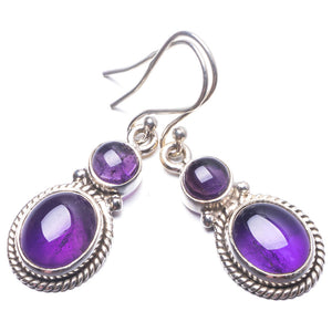 "Natural Amethyst Handmade Unique 925 Sterling Silver Earrings 1.5"" Y3786"