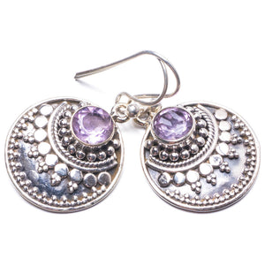 "Natural Amethyst Handmade Unique 925 Sterling Silver Earrings 1.25"" Y3796"
