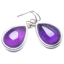 "Natural Amethyst Handmade Unique 925 Sterling Silver Earrings 1.25"" Y3805"