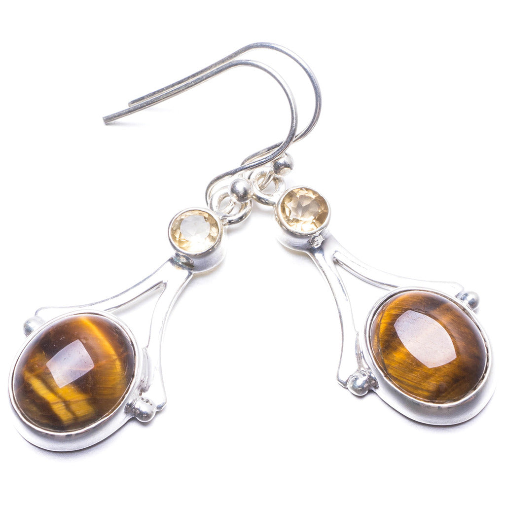 Natural Tiger Eye and Citrine Handmade Unique 925 Sterling Silver Earrings 1.5