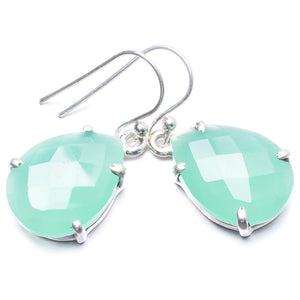 "Natural Chalcedony Handmade Unique 925 Sterling Silver Earrings 1.25"" Y3809"