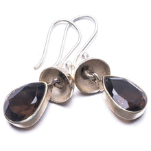 "Natural Smoky Quartz Handmade Unique 925 Sterling Silver Earrings 1.25"" Y3815"