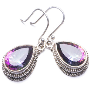 "Natural Mystical Topaz Handmade Unique 925 Sterling Silver Earrings 1.25"" Y3843"