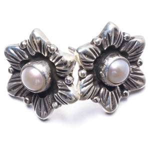"Natural River Pearl Handmade Unique 925 Sterling Silver Earrings 1"" Y3853"