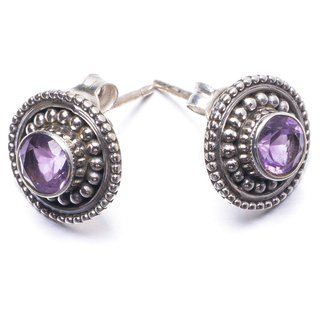 Natural Amethyst Handmade Unique 925 Sterling Silver Earrings 0.5