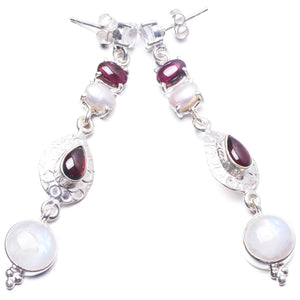 "Natural Moonstone,Amethyst and River Pearl Handmade Unique 925 Sterling Silver Earrings 2.5"" Y3871"