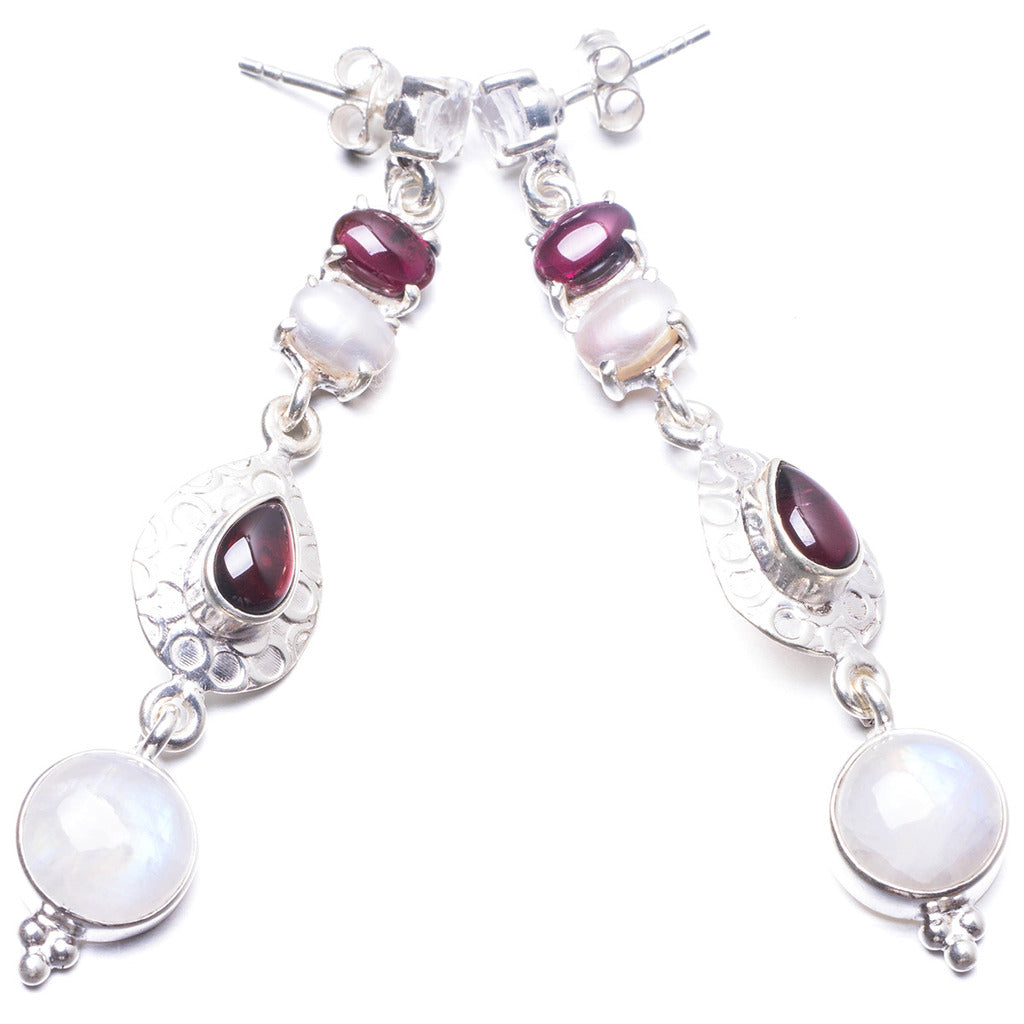 Natural Moonstone,Amethyst and River Pearl Handmade Unique 925 Sterling Silver Earrings 2.5