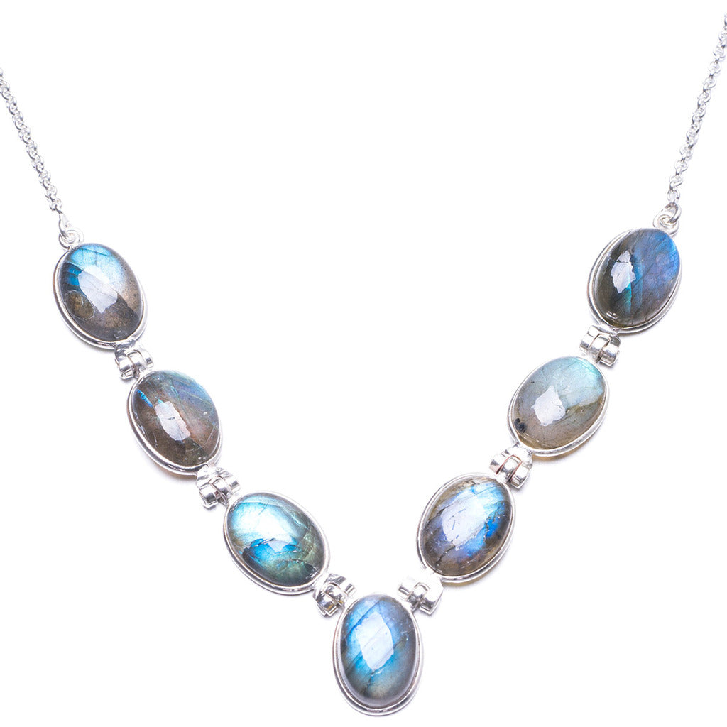 Natural Labradorite Handmade Unique 925 Sterling Silver Necklace 16.75