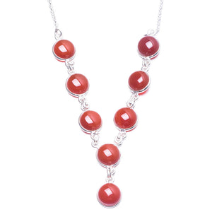 "Natural Carnelian Handmade Unique 925 Sterling Silver Necklace 17.75"" Y3896"