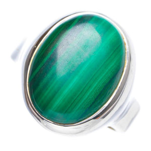 Natural Malachite Handmade Unique 925 Sterling Silver Ring 6.75 Y4097