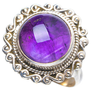 Natural Amethyst Handmade Unique 925 Sterling Silver Ring 8.5 Y4173