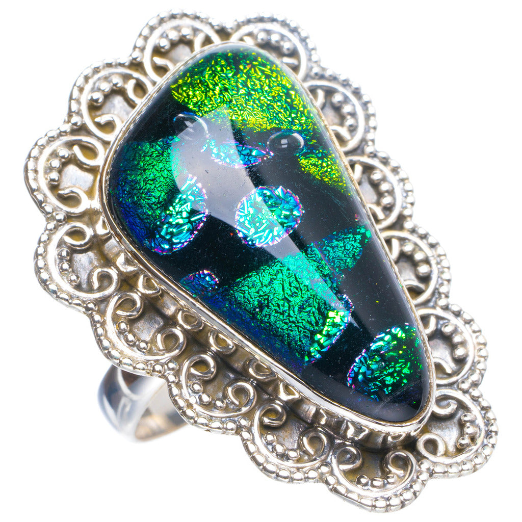 Natural Dichroic Glass Handmade Unique 925 Sterling Silver Ring 7 Y4291