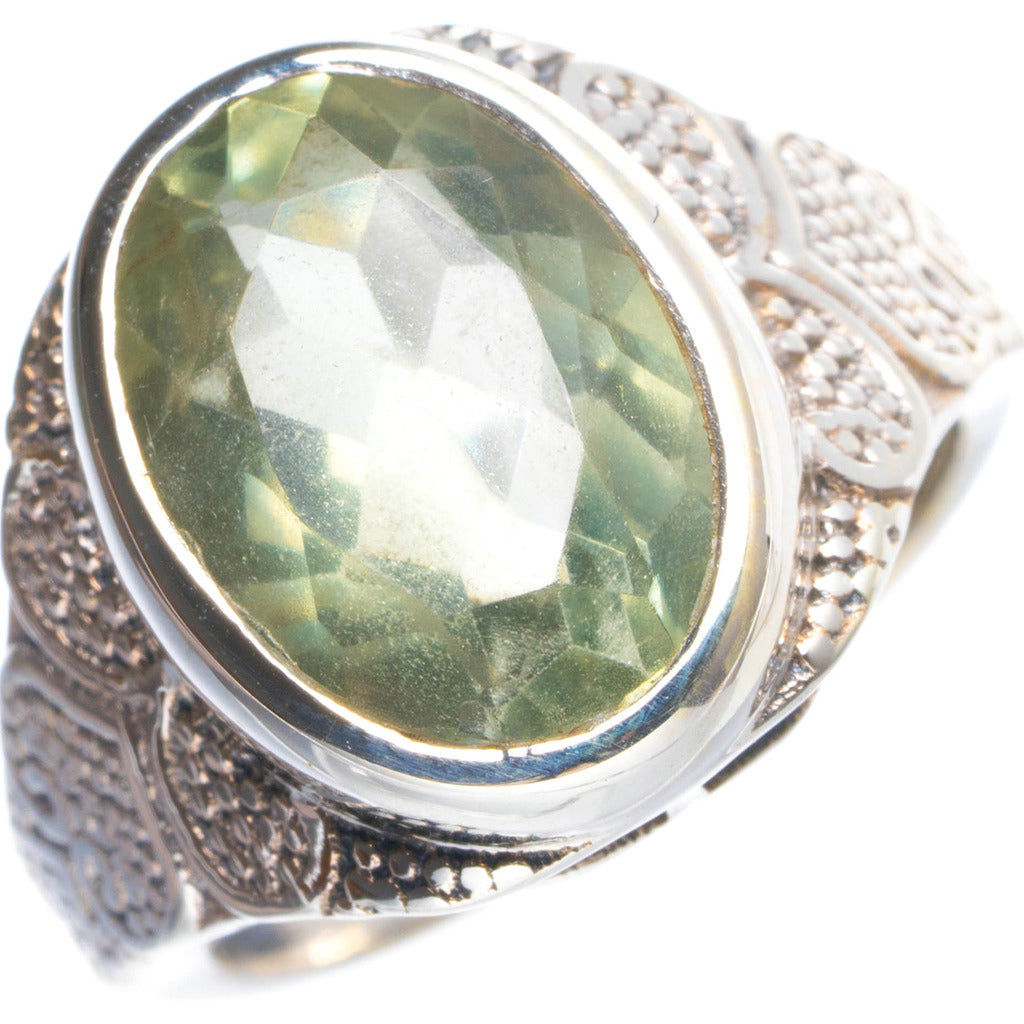 Natural Green Amethyst Handmade Unique 925 Sterling Silver Ring 6.75 Y4337