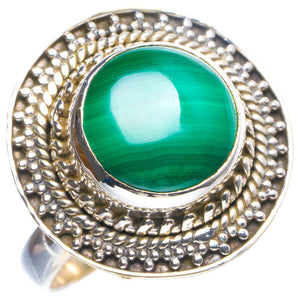 Natural Malachite Handmade Unique 925 Sterling Silver Ring 8.5 Y4374