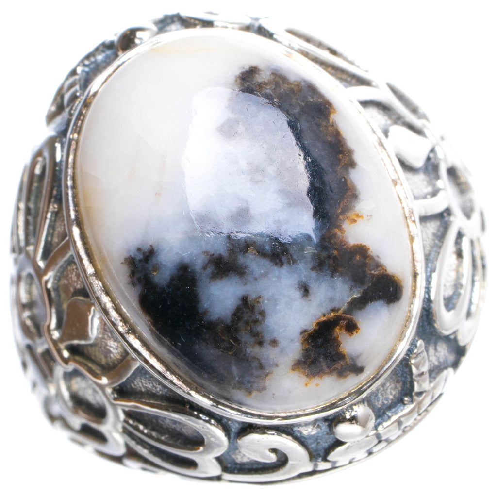 Natural Pinolith Jasper Handmade Unique 925 Sterling Silver Ring 6.75 Y4668