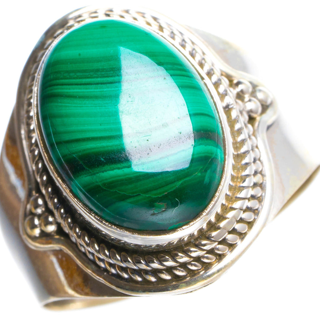 Natural Malachite Handmade Unique 925 Sterling Silver Ring 9 Y4679