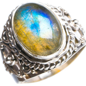 Natural Blue Fire Labradorite Handmade Unique 925 Sterling Silver Ring 7.5 Y4748